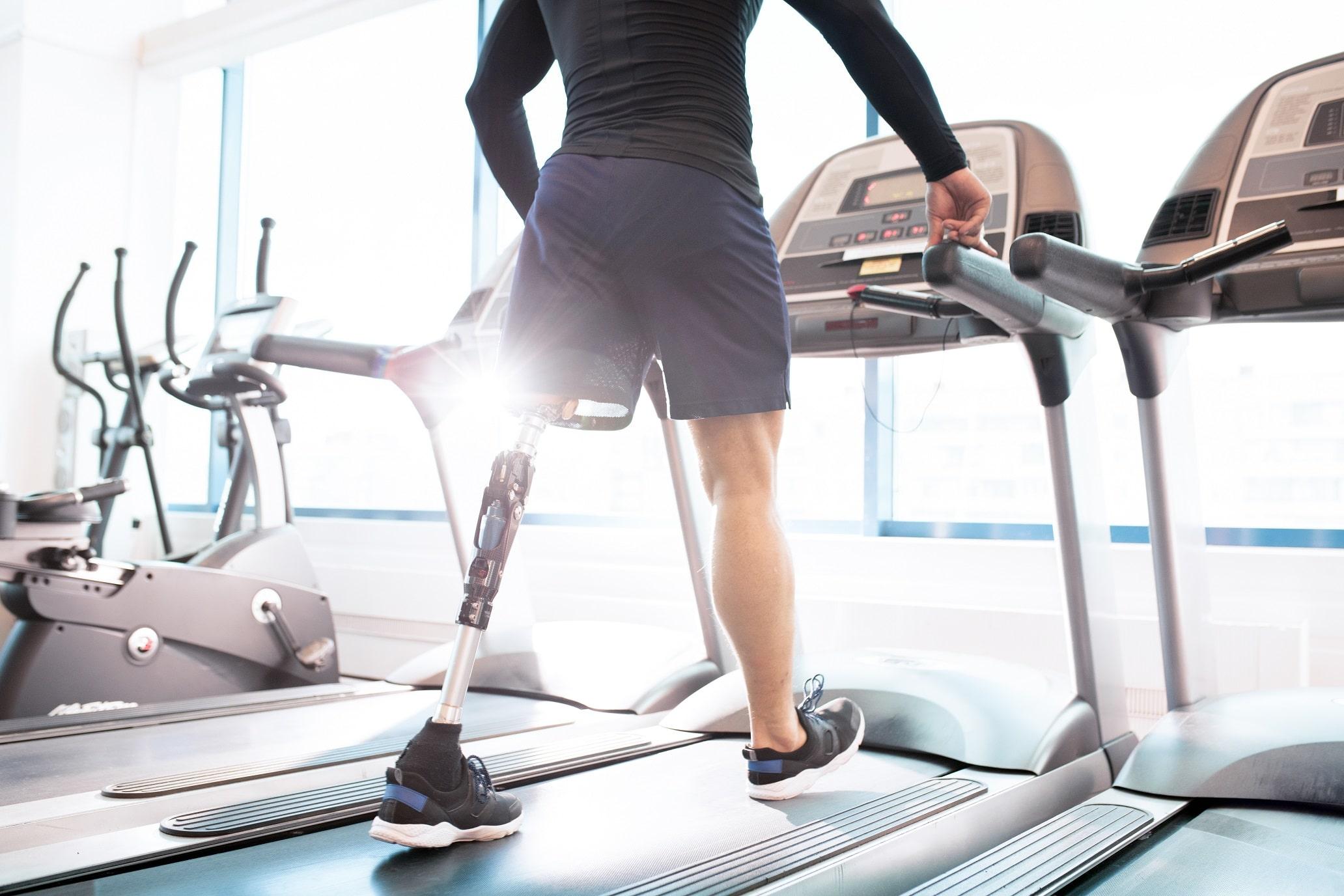 Disabled man on treadmill compensation